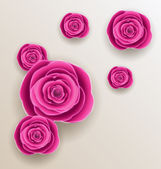 Cutout flowers - beautiful roses, paper craft  — Stock Vector