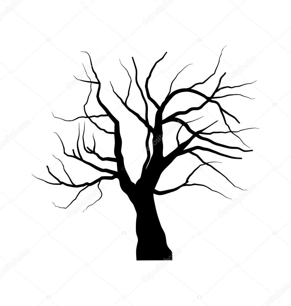 插画素描枯死的大树底下