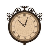 Forging retro clock with vignette arrows, isolated on white back — Stock Vector