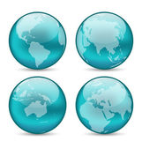 Set globes showing earth with continents — Vector de stock