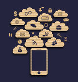 Smart device with cloud of application icons, business infograph — 图库矢量图片
