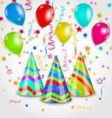Fundo de férias com chapéus de festa, balões coloridos, confetti — Vetorial Stock