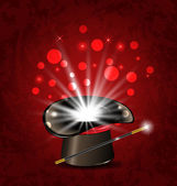 Magician hat, wand and magical glow — Stock Vector