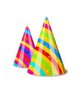 Colorful party hats for your holiday, isolated on white backgrou — Vector de stock