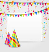 Celebration card with party hats, confetti and hanging flags — Stok Vektör