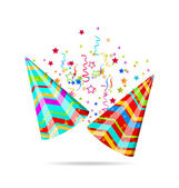 Colorful party hats with confetti for your holiday — Vettoriale Stock