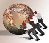 Empujando el mundo. — Foto de Stock