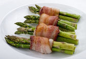 Asparagus Wraped in Bacon. — Stock Photo
