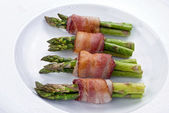 Asparagus Wrapped in Bacon. — Stock Photo