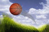 Basketball Flying. — Stockfoto