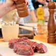 Stock Photo: Mis salting meat
