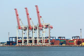 Cargo dock with cranes — Stock Photo