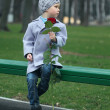 Little boy waiting in the park — Stock Photo