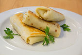 Spring rolles on the white plate — Stok fotoğraf
