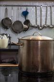Saucepan on the plate — Stock Photo