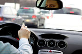 Driving in traffic jam — Stock Photo