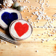 Two hearts in a festive atmosphere — Stock Photo