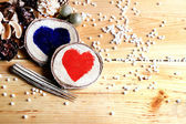 Two hearts in a festive atmosphere — Stockfoto