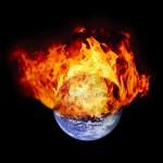 Burning earth globe — Stock Photo