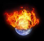 горящий глобус земли — Стоковое фото