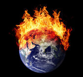 Burning earth globe east hemisphere — Stock Photo