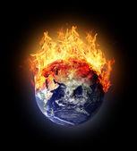 Burning earth globe east hemisphere — Stock Photo