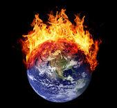 Burning earth globe west hemisphere — Stock Photo