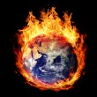 Stock Photo: Burning globe earth (east hemisphere)
