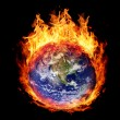 Stock Photo: Burning globe earth (west hemisphere)