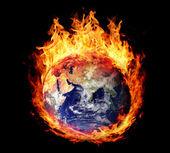 Burning globe earth (east hemisphere) — Stock Photo