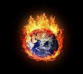 Burning globe earth (east hemisphere) — Stockfoto