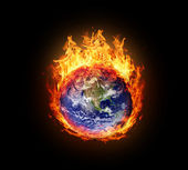 Burning globe earth (west hemisphere) — 图库照片