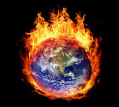 Burning globe earth (west hemisphere) — Stock Photo