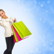 Girl with bags on winter background — Stock Photo
