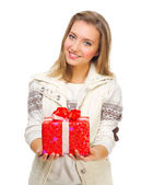 Young smiling girl with gift box — Stock Photo
