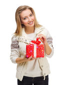 Young girl with gift box — Stock Photo