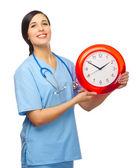доктор с часами изолированные — Стоковое фото