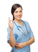 Successed doctor shows ok gesture — Stock Photo