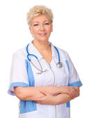 Mature smiling doctor isolated — Stock Photo