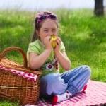 Little girl eating apple at picnic — Stock Photo #25469521