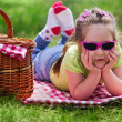 Little girl with picnic basket — Stock Photo