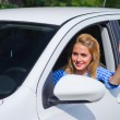 Woman drive the car — Stock Photo