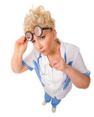Funny mature doctor isolated — Stock Photo