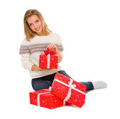 Young girl with gift boxes — Stock Photo