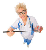 Mature funny doctor with pointer stick and pills — Stock Photo