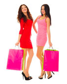 Two young smiling girls with bags — Stock Photo
