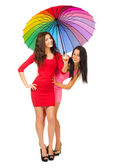 Two girls with umbrella — Foto de Stock