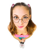 Funny schoolgirl in nerd glasses — Stock Photo