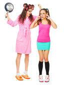 Angry mother screams to her daughter — Stock Photo