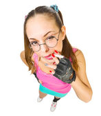 Funny schoolgirl with nerd glasses and cigarette — Stock Photo